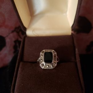Vintage solid silver and black onyx..